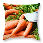 Market Carrots By Diana Sainz Throw Pillow