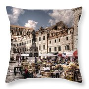 Market Day In The White City Throw Pillow