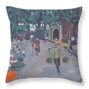 Saigon Market Day Throw Pillow