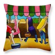 Market Day Under Pink Awning Throw Pillow