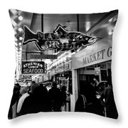 Market Grill In Pike Place Market Throw Pillow