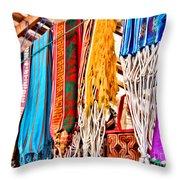 Market Hammocks In El Casco By Diana Sainz Throw Pillow
