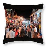 Market Life At Night 2 Throw Pillow