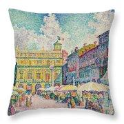 Market Of Verona Throw Pillow