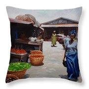 Market Scene Throw Pillow