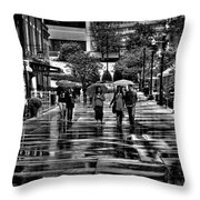 Market Square In The Rain - Knoxville Tennessee Throw Pillow