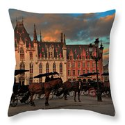 Markt Square At Dusk In Bruges Throw Pillow
