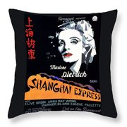 Marlene Dietrich Art Deco French Poster Shanghai Express 1932-2012 Throw Pillow