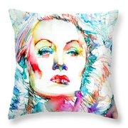 Marlene Dietrich - Colored Pens Portrait Throw Pillow