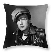Marlon Brando In The Wild One 1953 Throw Pillow