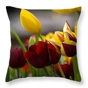 Maroon And Gold Tulips Throw Pillow