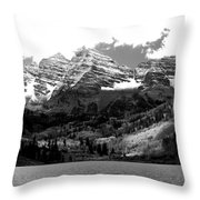 Maroon Bells In Black And White Throw Pillow