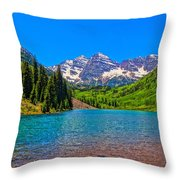 Maroon Bells In Color Throw Pillow