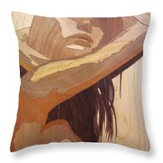 Marquetry Wood Work The Lady Throw Pillow
