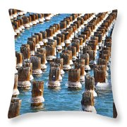 Marquette Harbor Icy Piers Throw Pillow