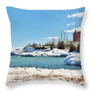 Marquette Harbor Light Station Throw Pillow