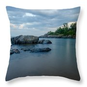 Marquette Lower Harbor Lighthouse At Dusk Throw Pillow