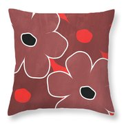 Marsala And Red Flowers- Bold Floral Art Throw Pillow