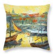 Marseille Harbour Throw Pillow
