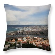 Marseille View From Cathedral Notre Dame De La Garde Throw Pillow