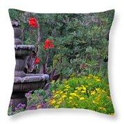 Garden Fountain And Flowers Throw Pillow