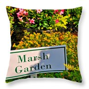 Marsh Garden Sign And Flowers Throw Pillow