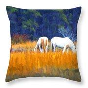 Marsh Ponies Throw Pillow