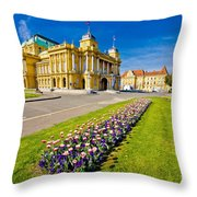 Marshal Tito Square In Zagreb Throw Pillow