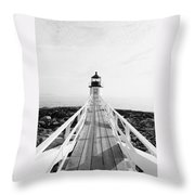 Marshall Point Approach - Black And White Throw Pillow