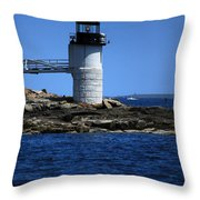 Marshall Point Surrounded By Blue Throw Pillow by Karol Livote