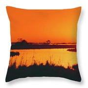 Marshland At Dusk, Bayou Country, Route Throw Pillow