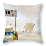 Marshmallow Marathon Throw Pillow by Heather Applegate