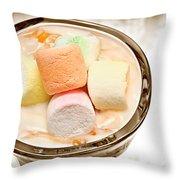 Marshmallow Peach Yogurt Parfait Throw Pillow