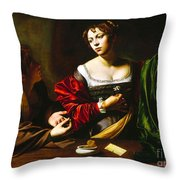 Martha And Mary Magdalene Throw Pillow