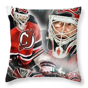 Martin Brodeur Collage Throw Pillow by Mike Oulton
