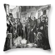 Martin Luther 1483 1546 Publicly Burning The Pope's Bull In 1521  Throw Pillow