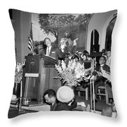 Martin Luther King Jnr 1929 1968 American Black Civil Rights Campaigner In The Pulpit Throw Pillow