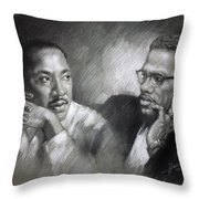 Martin Luther King Jr And Malcolm X Throw Pillow