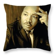 Martin Luther King Jr Artwork Throw Pillow by Sheraz A