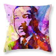 Martin Luther King Jr Watercolor Throw Pillow by Naxart Studio