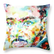 Martin Luther King Jr. - Watercolor Portrait Throw Pillow