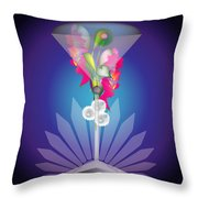 Martini Flower Throw Pillow