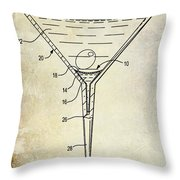 Martini Glass Patent Drawing Throw Pillow