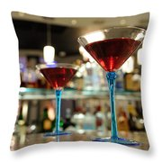 Martini Glasses In Bar Throw Pillow