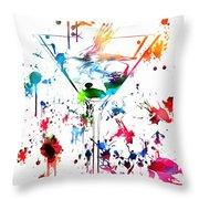 Martini Paint Splatter Throw Pillow