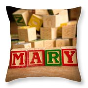 Mary - Alphabet Blocks Throw Pillow