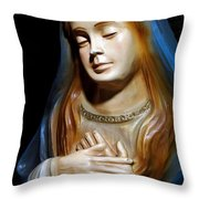 Mary In Manger Throw Pillow