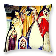 Mary Joseph And Jesus Vintage Religious Catholic Statues Patron Saints And Angels Cb Spandau Quebec Throw Pillow