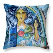 Mary Magdalene Watercolor Throw Pillow