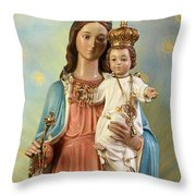 Mary Statue At Taybeh Village Throw Pillow